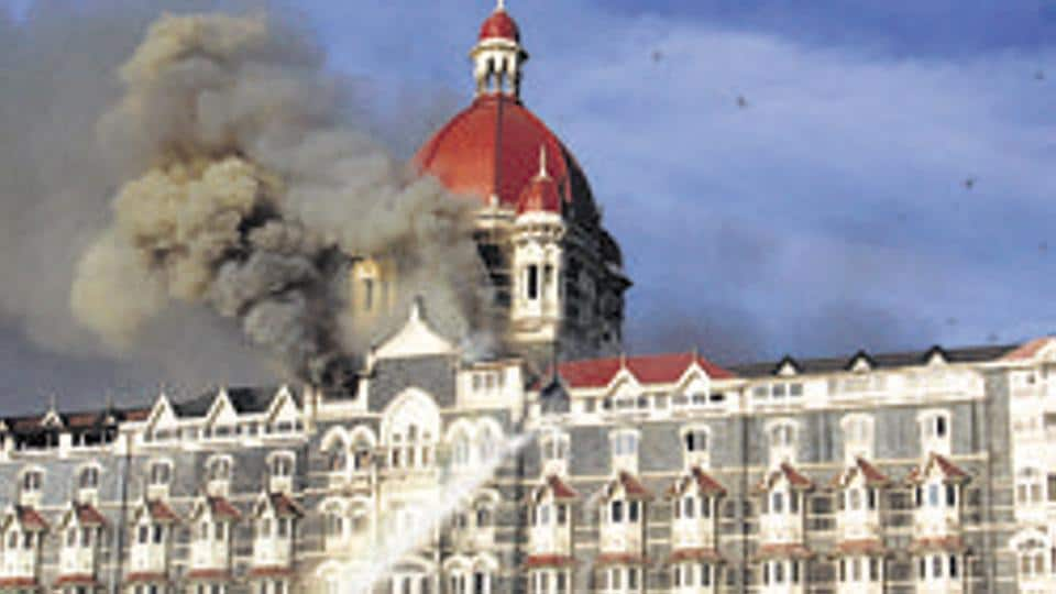 The Taj Mahal Palace Hotel on fire during the 2008 attacks in Mumbai. More than 160 people, including several foreigners, were killed.