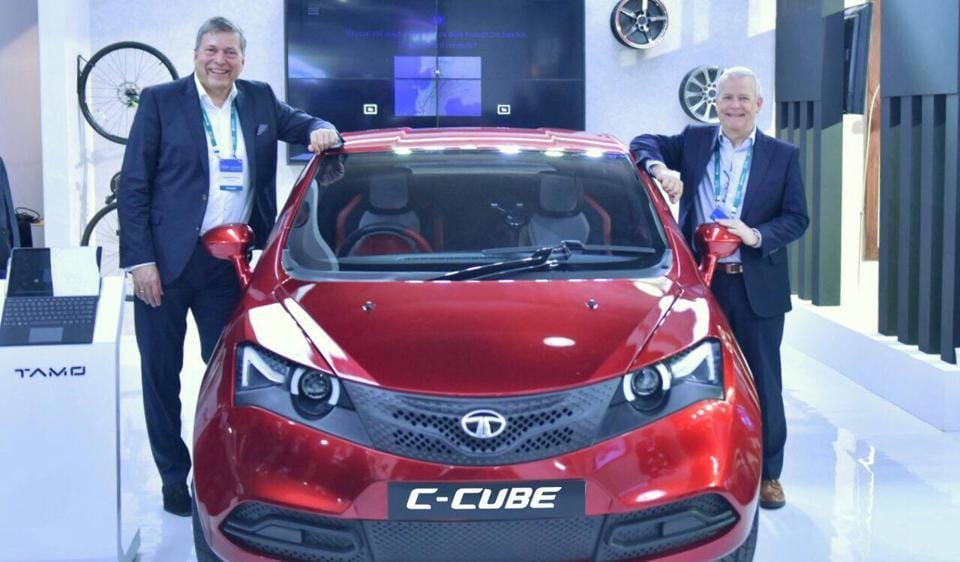 TAMO's C-Cube Concept displayed by Tata Motors' Guenter Butschek and Tim Leverton at the Future Decoded event in Mumbai.