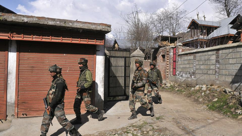 Soldiers near the site of encounter in south Kashmir's Tral area.