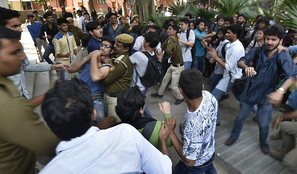 Clashes erupted on DU campus after ABVP members disrupted a literary event at Ramjas College where JNU students Umar Khalid and Shehla Rashid had been invited to speak.