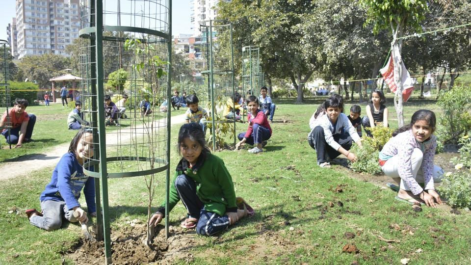 Children have taken up an initiative to plant saplings and grass in Central Park, Sector 4 in Vaishali, in Ghaziabad. It has been nearly eight months since the Ghaziabad municipal corporation promised to redevelop the park, but failed to deliver on the promise.