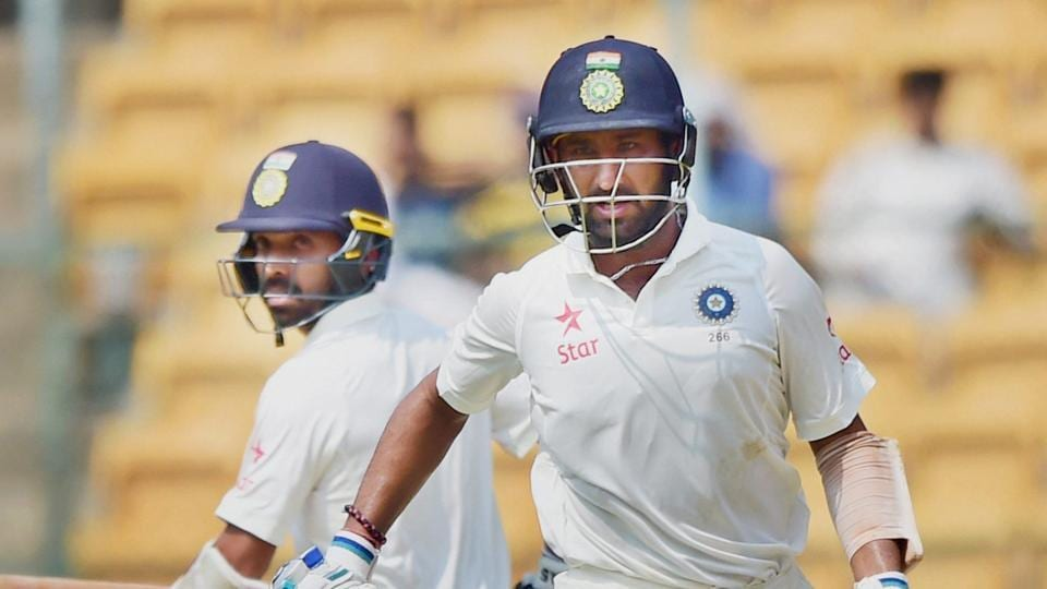 Cheteshwar Pujara and Ajinkya Rahane run between the wickets during third day of the second Test match against Australia at Chinnaswamy stadium in Bangalore on Monday. At close, India have a lead of 126 runs. Full cricket scorecard of India vs Australia here.