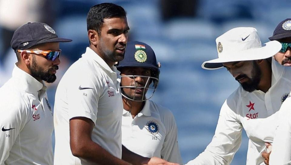 Ravichandran Ashwin celebrates with teammates the wicket of an Australian batsman during the ongoing series. Ashwin has broken coach Anil Kumble's record of most balls bowled in a Test season.