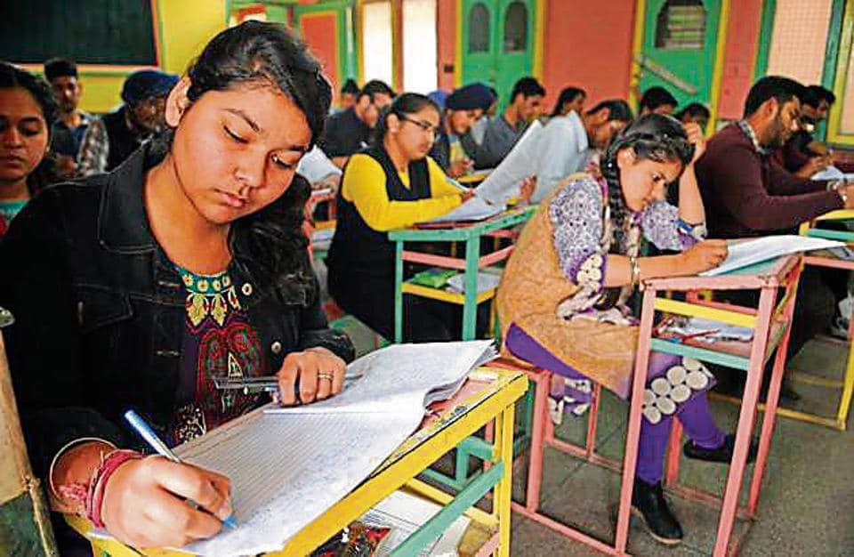 Students appearing for exam in Jalandhar.