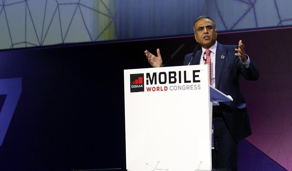 Sunil Bharti Mittal, Chairman of Bharti Enterprises, delivers his keynote speech at Mobile World Congress in Barcelona, Spain.