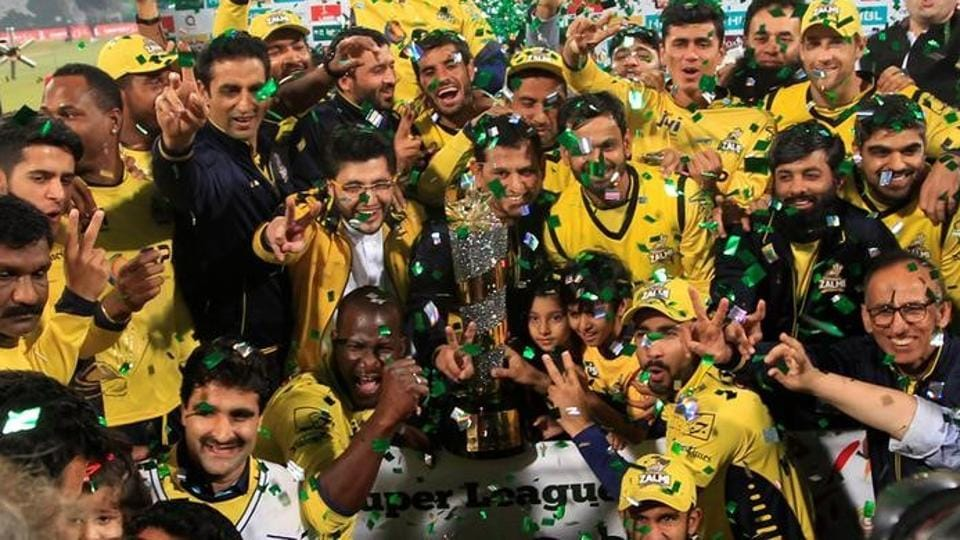 Peshawar Zalmi players celebrate their victory over Quetta Gladiators in the final of the Pakistan Super League (PSL) at Gaddafi Cricket Stadium in Lahore on Sunday.