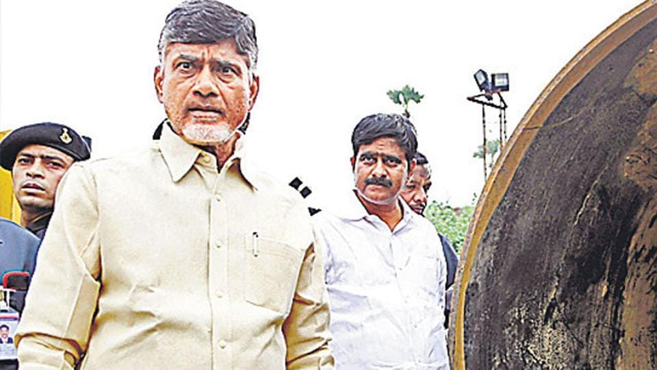 Andhra Pradesh CM Chandrababu Naidu examines the Pattiseema project in West Godavari. The Andhra Pradesh chief minister is all set to induct his only son Nara Lokesh into the state cabinet.