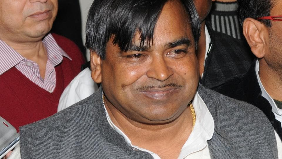 An aide of rape-accused Uttar Pradesh minister Gayatri Prajapati (in picture) was arrested on March 6, 2017. Head Constable Chanderpal was one of the seven accused in a gang rape case.