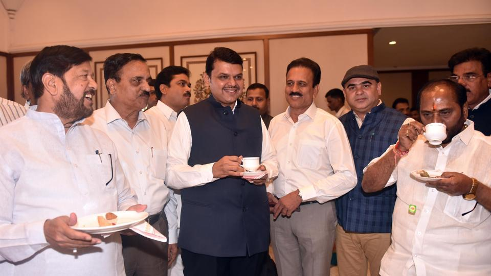 Chief minister Devendra Fadnavis at the customary tea party held on the eve of the budget session of the state assembly at Sahyadri Guest House in Malabar Hill on Sunday.