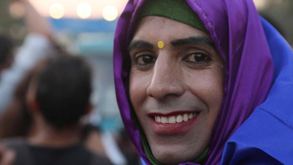 Participants seen during the 3rd Queer Gulabi Pride, organised by Nai Bhor Sanstha in Jaipur. (Himanshu Vyas / HT photo)