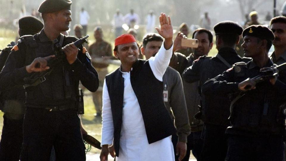 Uttar Pradesh chief minister and SP leader Akhilesh Yadav at an election rally in Jaunpur on Monday.