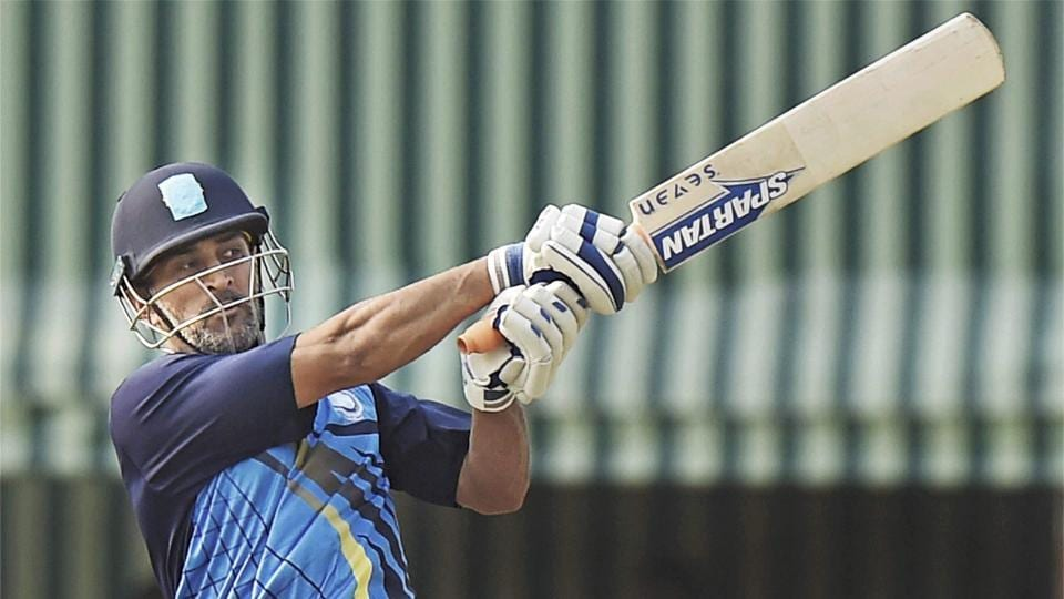 Jharkhand Captain MS Dhoni in action during the Vijay Hazare Trophy match against Jammu and Kashmir.