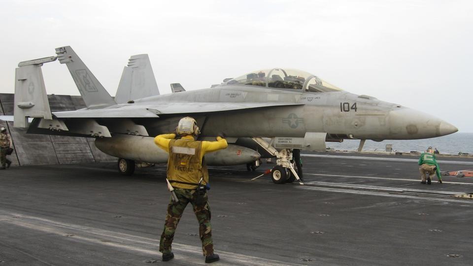An F-18 Super Hornet aboard the USS Nimitz.
