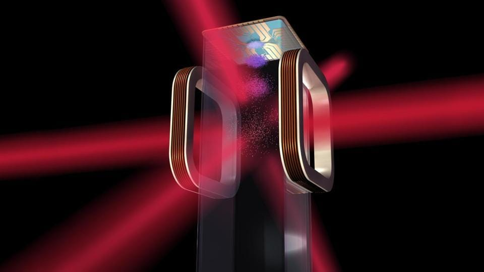 Artist's concept of a magneto-optical trap and atom chip to be used by NASA's Cold Atom Laboratory (CAL) aboard the International Space Station.  CAL will use lasers to cool atoms to ultracold temperatures.