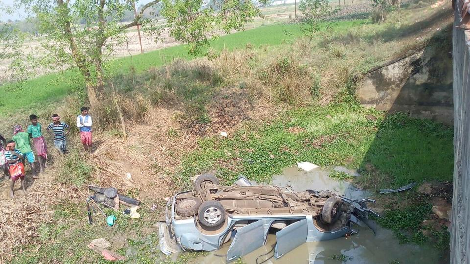 The sedan in which the singer was travelling plunged into the nullah below NH2.