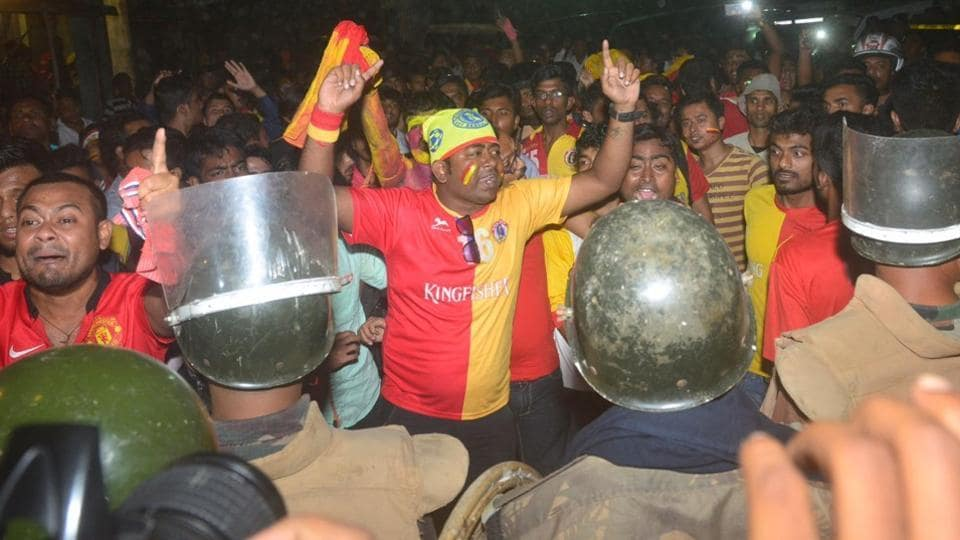East Bengal fans after their team's I-League match against Churchil Brothers in Barasat.