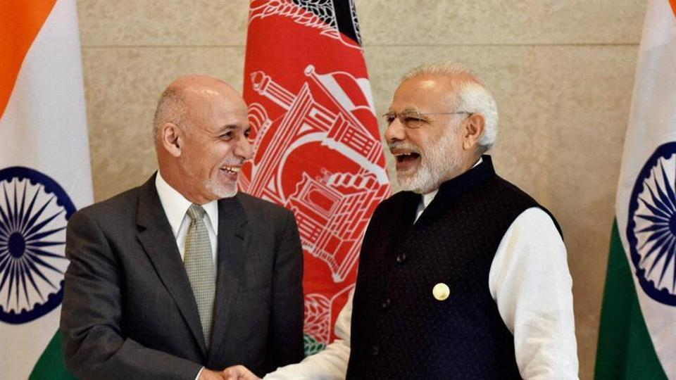 Afghanistan President Ashraf Ghani (L) with Prime Minister Narendra Modi.