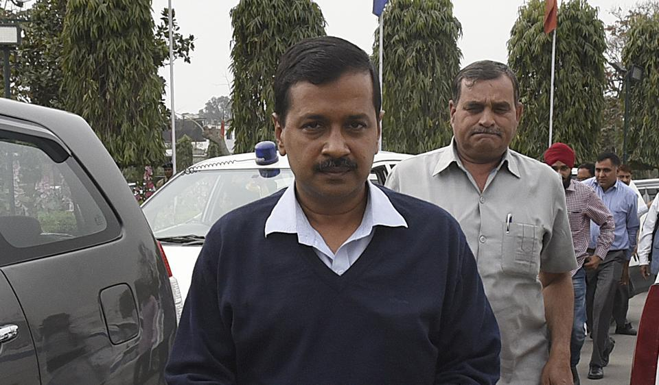 Delhi Chief Minister Arvind Kejriwal arrives to attend the budget session of Delhi Assembly on Tuesday.