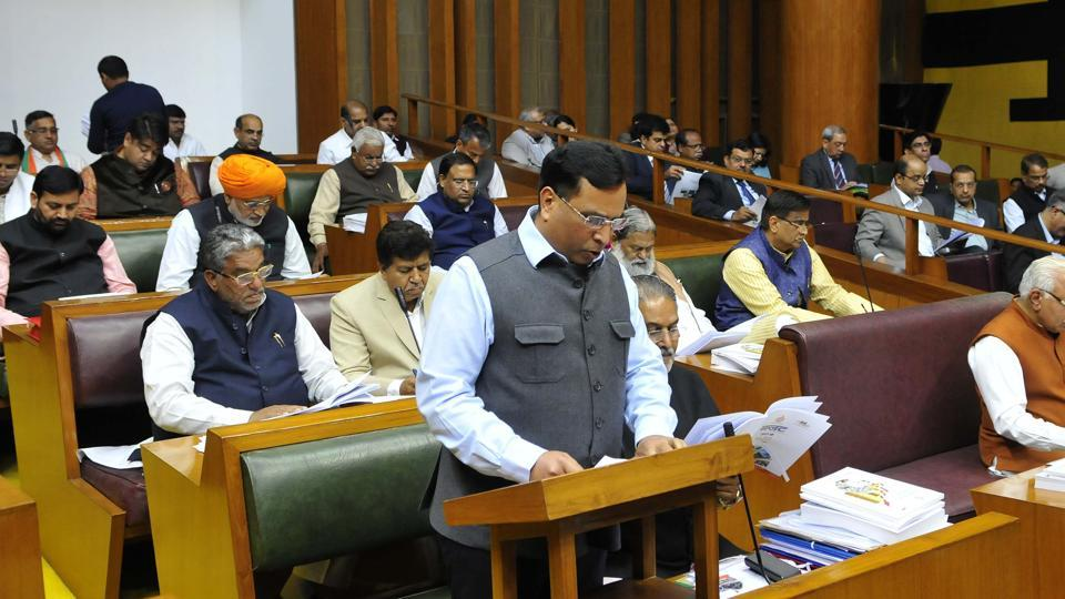 Haryana finance minister Capt Abhimanyu presenting annual state budget in Haryana Vidhan Sabha , on Friday.