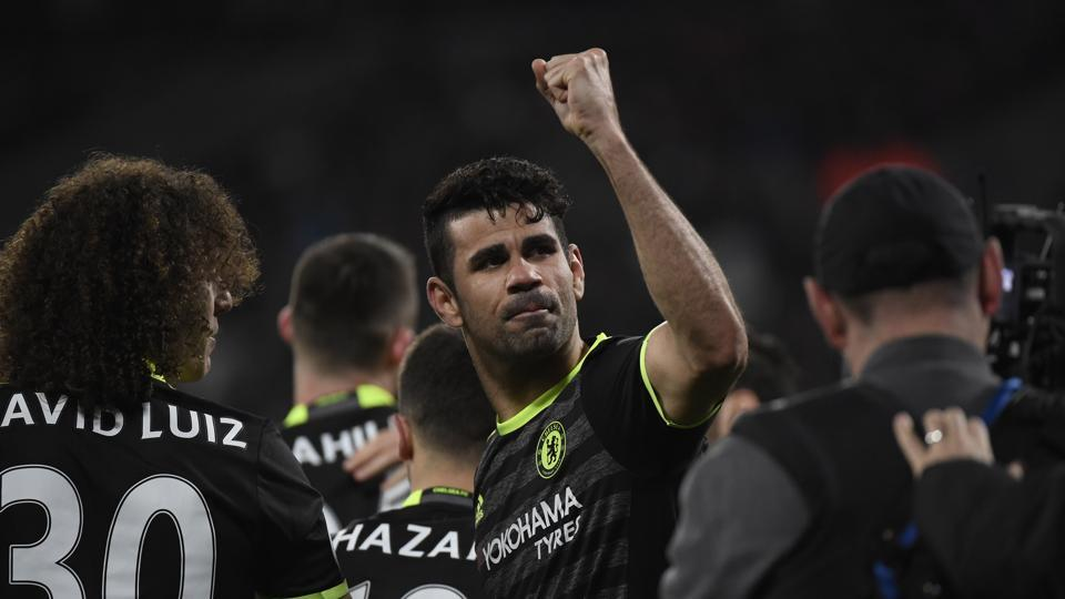 Chelsea FC's Diego Costa celebrates scoring their second goal against West Ham United during their Premier League match onMonday.