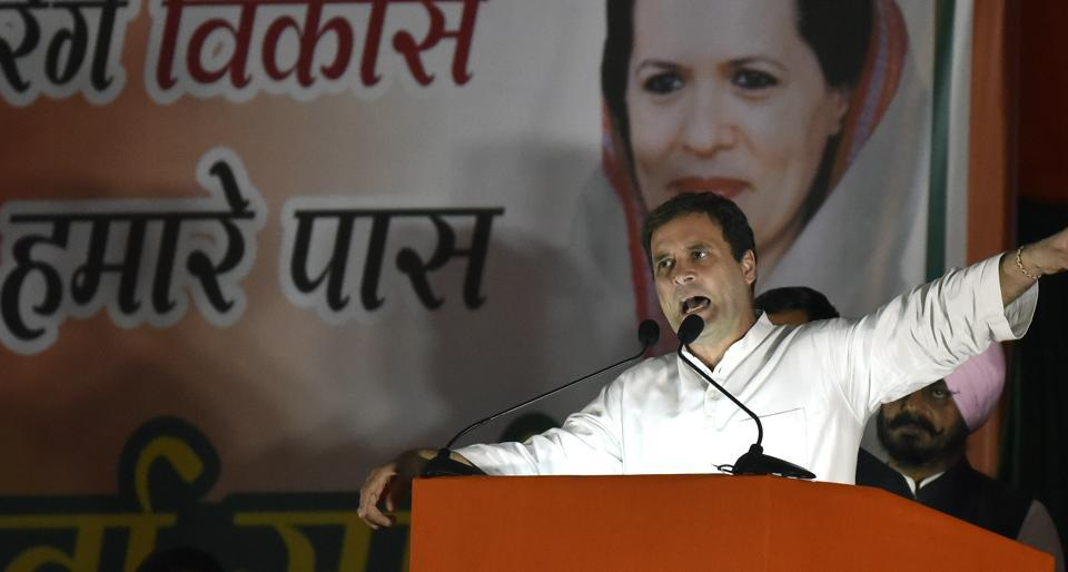 Congress vice-president Rahul Gandhi addresses Congress workers at a rally organized by Delhi Pradesh Congress Committee in on Tuesday at the Ramlila Maidan.