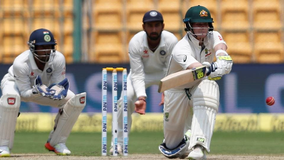 Australia cricket team captain Steve Smith tried to attack the India bowlers but fell for 28 to Umesh Yadav on Day 4 of the second Test at M Chinnaswamy Stadium on Tuesday. (REUTERS)