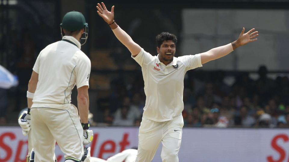 Umesh Yadav took two crucial Australia cricket team wickets,  trapping both of the batsmen -- Shaun Marsh (in pic) and Steve Smith -- leg before on Day 4 of the second Test at M Chinnaswamy Stadium on Tuesday. (BCCI)