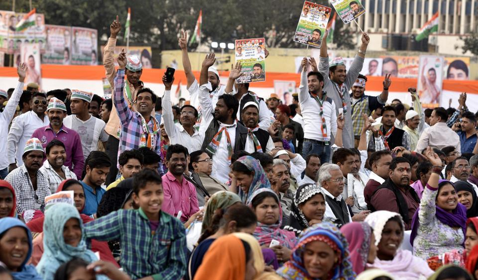 Congress workers and supporters at Rahul Gandhi's rally at Ramlila Maidan on Tuesday.