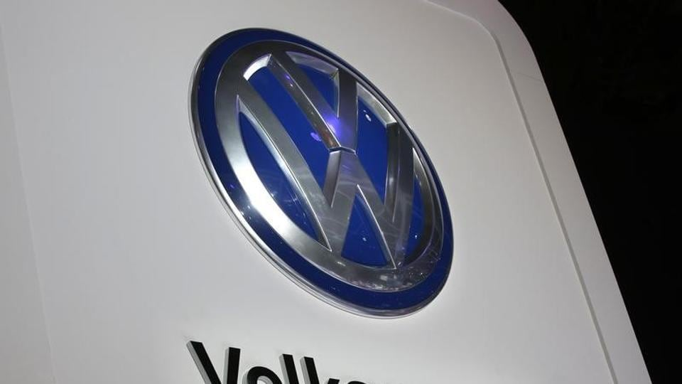 Volkswagen logo is seen at the company's display during the North American International Auto Show in Detroit, Michigan, in January.