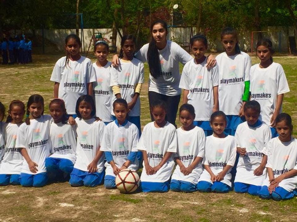 Fourteen-year-old Diya Shukla, of DLF Phase-1, trains the children thrice a week in the evening and imparts fitness training on Saturday. She is helped by a group of eight people, including soccer coaches.