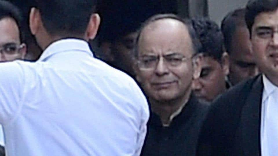 Union finance minister Arun Jaitley comest out of the Delhi High Court after the hearing in the defamation case filed by him against Delhi chief minister Arvind Kejriwal .