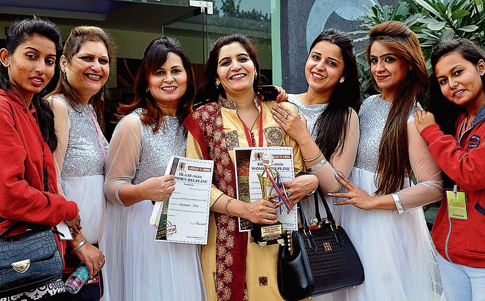 Awardees during a function ahead of International Women's Day at Guru Nanak Bhawan in Ludhiana on Tuesday.