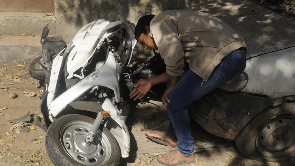 The scooter which 17-year-old Atul Arora was riding when he was allegedly knocked down by a speeding Mercedes in the Paschim Vihar area of Delhi. Police said Arora was not wearing helmet.