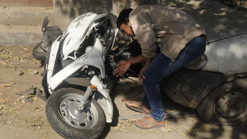 The mangled remains of the scooter after the accident which killed 17-year-old Atul Arora in the Paschim Vihar area of Delhi on Sunday
