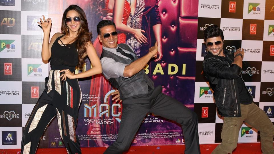 Kiara Advani, Akshay Kumar and Mustafa Burmawala during the song launch Cheez Badi Hai Mast Mast in Mumbai.