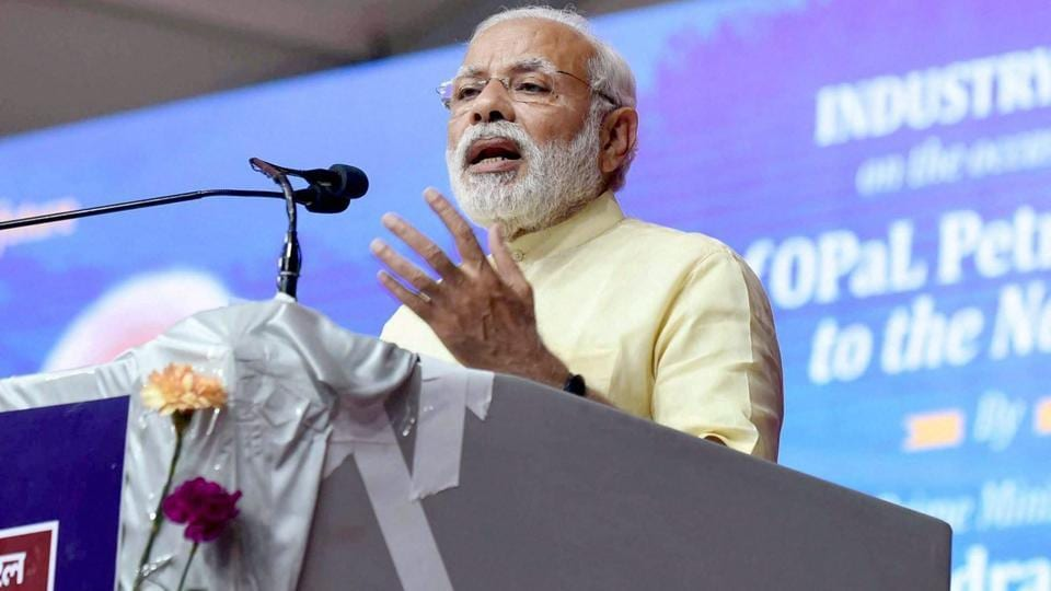 Prime Minister Narendra Modi addresses an  industry meet at ONGC Petro Additions Limited (OPaL), in Dahej, Gujarat on Tuesday.