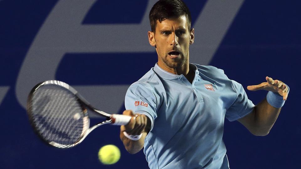 Novak Djokovic plays a return to Australia's Nick Kyrgios during a quarterfinal match at the Mexican Tennis Open tournament.
