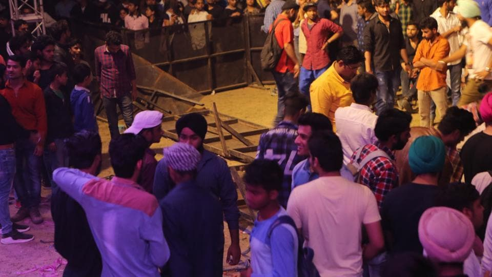 A view of the broken barricades and firework display at the venue. (Manoj Verma/HT Photo)
