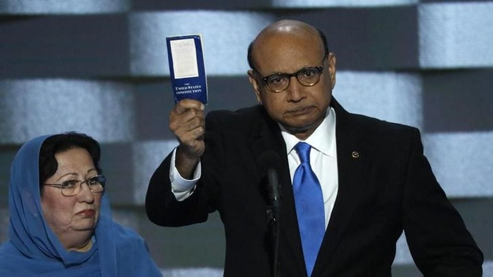 Khizr Khan, whose son, Humayun SM Khan was one of 14 American Muslims who died serving in the US Army in the 10 years after the 9/11 attacks, offers to loan his copy of the Constitution to Republican US presidential nominee Donald Trump, as he speaks during the last night of the Democratic National Convention in Philadelphia on July 28.