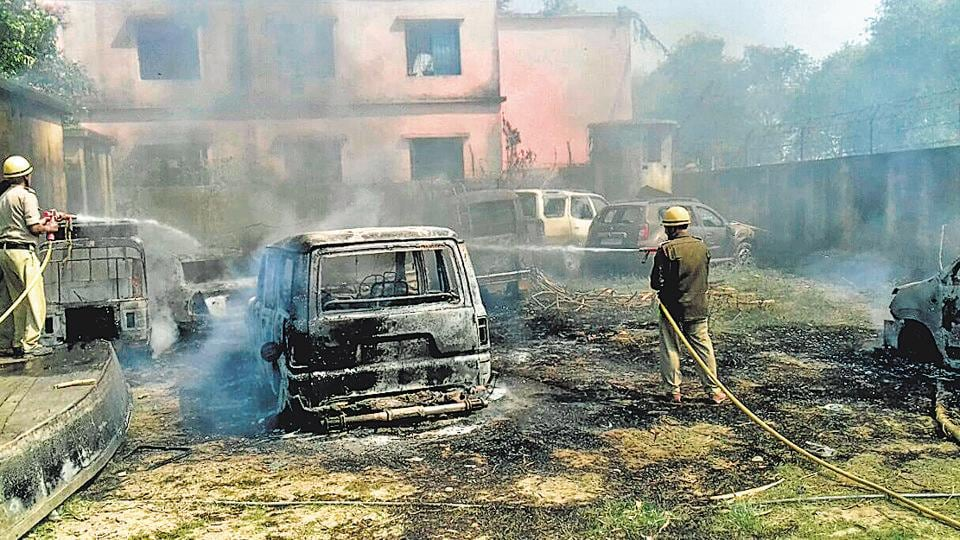 Mob burnt down the Resubelpara police station, its temporary barracks and police vehicles.