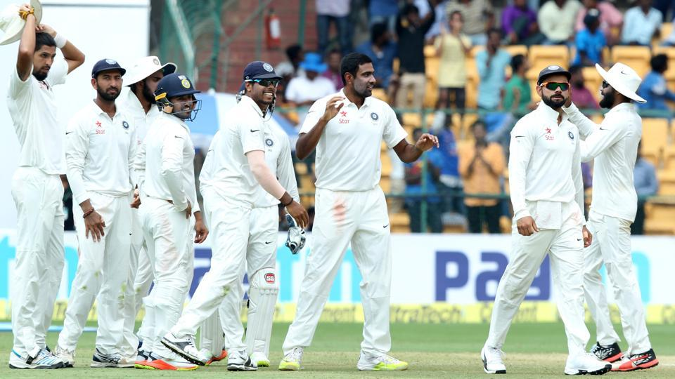 Ravichandran Ashwin of India celebrates the wicket of Mitchell Marsh of Australia during day four of the second Test in Bangalore on Tuesday. India beat Australia by 75 runs to level the four-Test series 1-1. Get full cricket score of India vs Australia here.