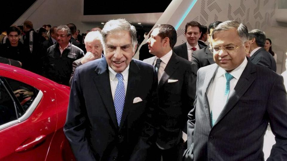 Chairman emeritus of Tata Sons Ratan Tata with Tata Sons chairman Natarajan Chandrasekaran at the unveil of the compact SUV Nexon, at the 87th Geneva International Motor Show in Switzerland on Tuesday.