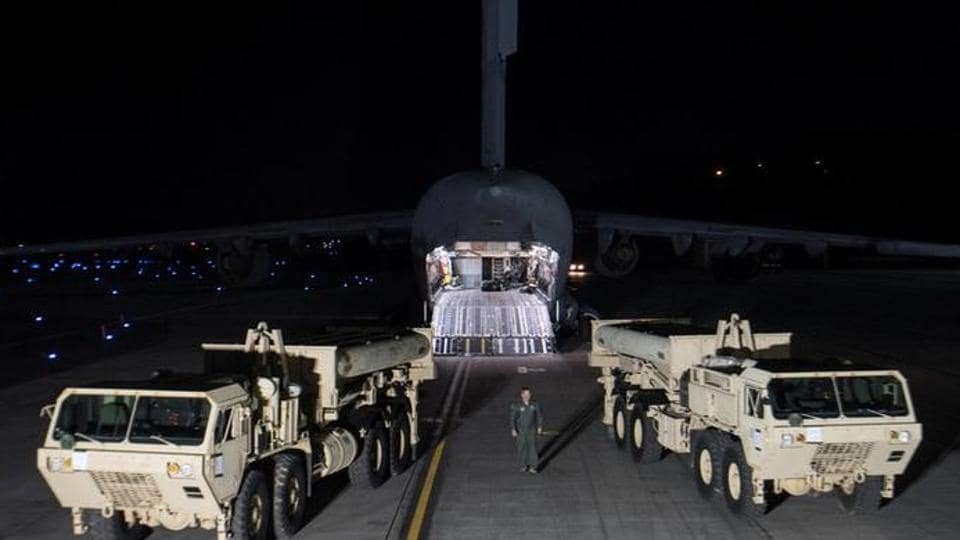 Terminal High Altitude Area Defense (THAAD) interceptors arrive at Osan Air Base in Pyeongtaek, South Korea, in this handout picture provided by the United States Forces Korea (USFK) and released by Yonhap on March 7, 2017.