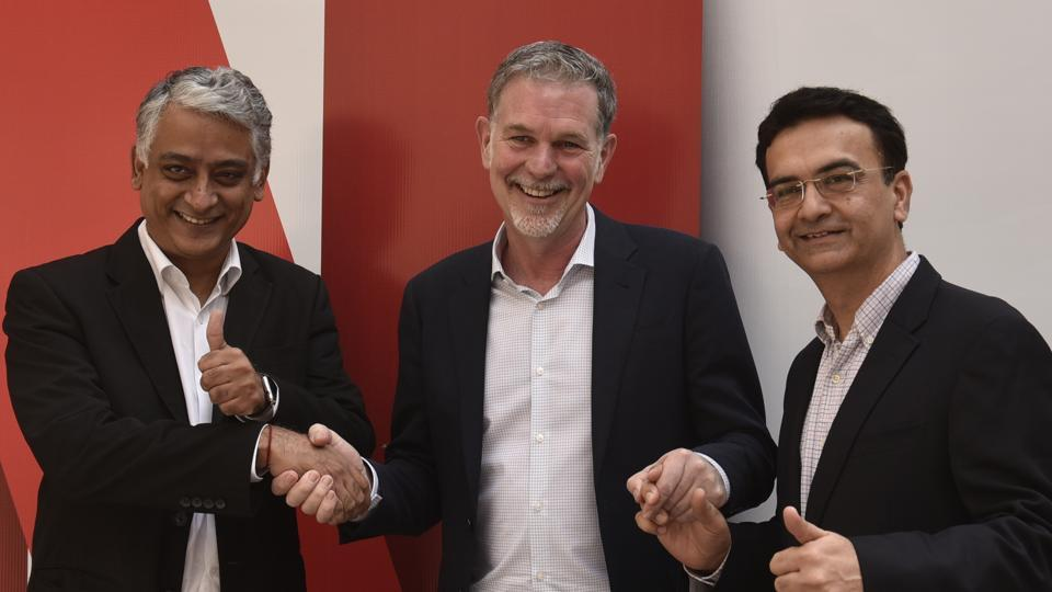 Sandeep Kataria, Director Commercial Vodafone India; Reed Hastings, Co founder and CEO, Netflix and Himanshu Patil , COO Videocone d2h Limited at Netflix's Multi-Platform Parterships Annoucement in New Delhi, India, on Monday, March 6, 2017.