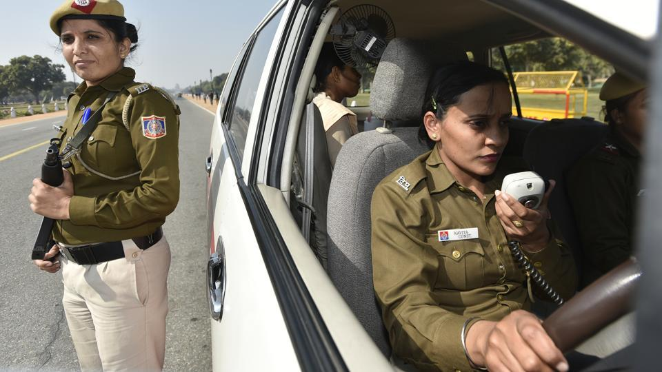 The women Police Control Room (PCR) cruisers who patrol in the city to keep a tab and contain crimes against women. (Ravi Choudhary/HT PHOTO)