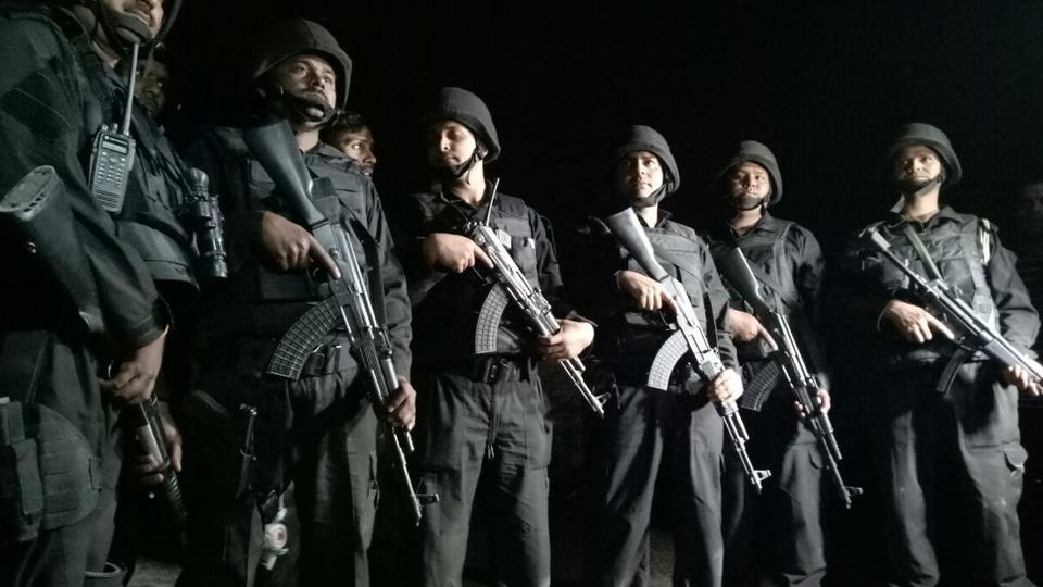 ATS special commandos after an operation that lasted nearly 12 hours on the outskirts of Lucknow in Uttar Pradesh.