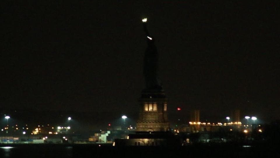 The Statue of Liberty was temporarily in the dark on Tuesday.