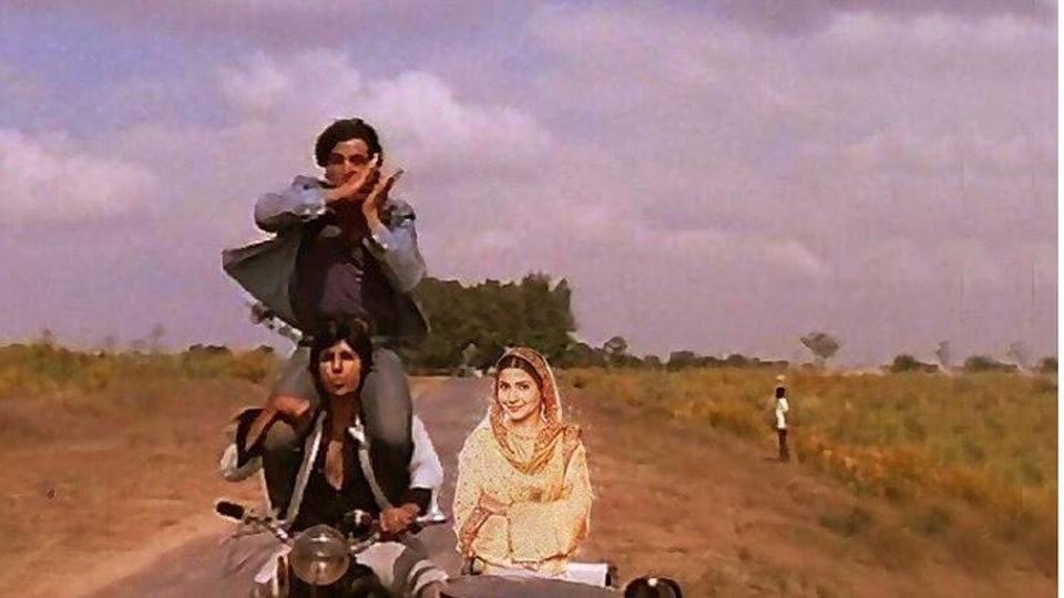 Anushka Sharma on the Sholay scooter with Amitabh Bachchan and Dharmendra.