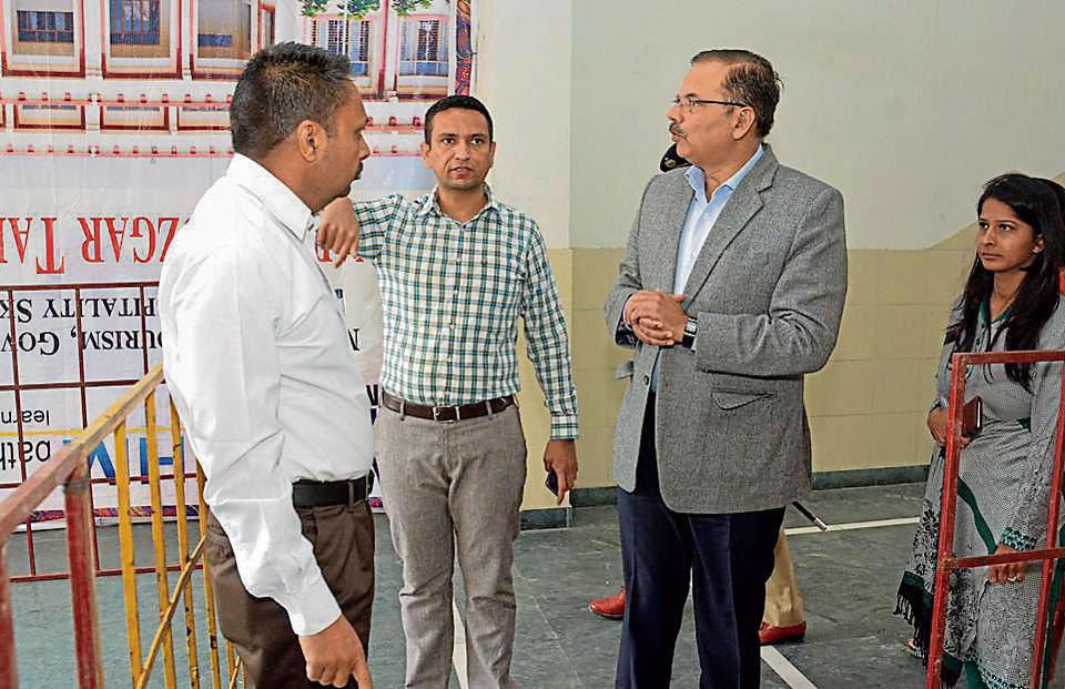 Punjab chief electoral officer VK Singhduring his visit to a counting centre in Bathinda district on Wednesday.