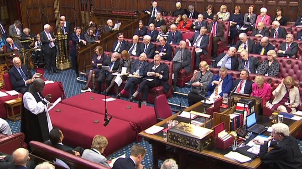 House of Lords chamber on the third day of the European Union (Notification of Withdrawal) Bill - Report Stage, in London on Tuesday.